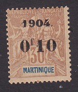 Martinique, Scott #56, Mint Hinged, Navigation And Commerce Surcharged, Issued 1904 - Martinique (1886-1947)