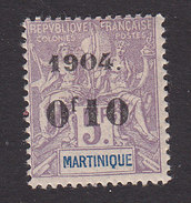 Martinique, Scott #61, Mint Hinged, Navigation And Commerce Surcharged, Issued 1904 - Martinique (1886-1947)