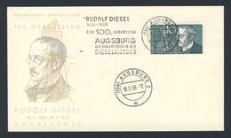 Deutschland Germany 1958 FDC + Mi 284 - Rudolf Diesel 1858-1958 - Eisenbahnen
