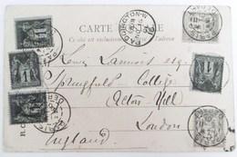 Carte Postale De Paris Pour Londres Avec Sage N°83X4 Et 87X2 - Marcophilie (Lettres)