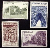 FAROE ISLANDS # 182-185.  Kirkjubour Cathedral. MNH (**)