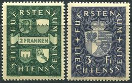 Liechtenstein 1939. Michel #183/84 MNH/Luxe. Coat Of Arms And Prince Franz Josef II. (Ts15)