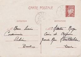 Entier Pétain 1,20 F / 1944 / Brun Lucien / Cordonnier / Luhier / 25 Doubs - Otros