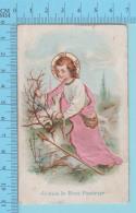 Jesus Le Bon Pasteur Enfant, La Robe Est En Tissu - Image Pieuse, Holy Card, Santini - 2 Scans - Images Religieuses
