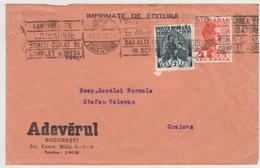 COVER 1939 FRAGMENT CIRCULATED AT    CRAIOVA WITH STAMPS CAROL II, IMPRIMATE  DE EDITURA, ANTET ``ADEVARUL`` - Cartas
