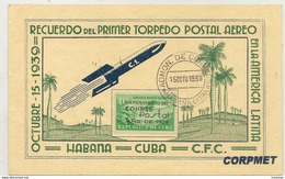 CUBA - 1939 Experimental Postal Rocket Flight - First Day Of Issue Cacheted CARD - Ex NICOLAS SOCORRO GUERRA - Poste Aérienne
