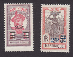 Martinique, Scott #120, 122, Mint Hinged, Scenes Of Martinique Surcharged, Issued 1924 - Martinique (1886-1947)