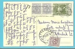"""849+880 (U.P.U.) Op Kaart Stempel BRUXELLES Naar """"Poste Restante Etterbeek"""", Zegel 856 Als Strafportzegel Gebruikt"""