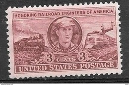 1950 3 Cents Railroad Engineers, Casey Jones, Mint Never Hinged - United States