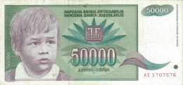 YUGOSLAVIA 50000 DINARA 1992 P-117 CIRC  [ YU117circ ] - Yugoslavia