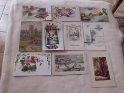 LOT  DE 10 CARTES ILLUSTRATIONS FANTAISIES ..FLEURS..PAYSAGES - Cartoline