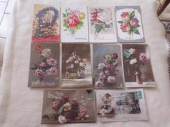 LOT DE 10 CARTES ILLUSTRATIONS FANTAISIES ..FLEURS ...ANNIVERSAIRE - 5 - 99 Cartes