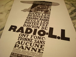 ANCIENNE PUBLICITE RADIO L.L 1930 - Manifesti & Poster