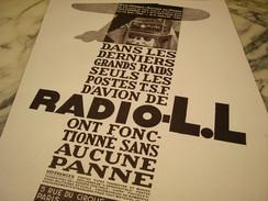 ANCIENNE PUBLICITE RADIO L.L 1930 - Plakate & Poster