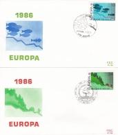 Belgium 2 Covers 1986 FDC Europa CEPT (T17-12)