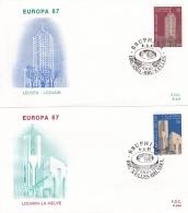 Belgium 2 Covers 1987 FDC Europa CEPT (T17-12)