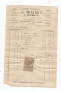 Facture , Fabrique De Chandelles , A. Brisset , L. Montaru Successeur , Vendôme, Timbrée , 1886 , Frais Fr : 1.55& - 1800 – 1899