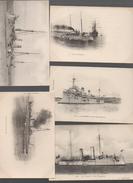 Bateaux De Guerre. Lot De 5 Cartes   Tout Début Du XXe (PPP5131) - Guerra
