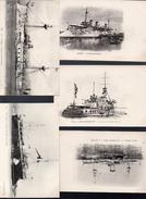Bateaux De Guerre. Lot De 5 Cartes   Tout Début Du XXe (PPP5132) - Guerra