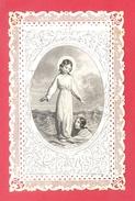"""CANIVET DE DENTELLE MECANIQUE - """"TOUT PAR JESUS"""" - IMAGE PIEUSE (6,5 X 10,4 Cm) - édit; MAISON BASSET -  PARFAIT ETAT. - Imágenes Religiosas"""