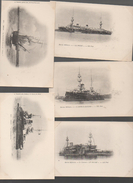 Bateaux De Guerre. Lot De 5 Cartes   Tout Début Du XXe (PPP5134) - Guerra