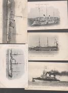 Bateaux De Guerre. Lot De 5 Cartes   Tout Début Du XXe (PPP5135) - Guerra
