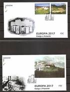KOSOVO 2017,,EUROPA CEPT,CASTLES,FDC