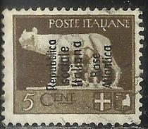 BASE ATLANTICA 1944  SOPRASTAMPATO D'ITALIA ITALY OVERPRINTED CENT. 5c USATO USED OBLITERE' FIRMATO SIGNED - Emissions Locales/autonomes