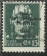 EMISSIONI LOCALI: BASE ATLANTICA 1943 CENT. 15 C. USATO USED OBLITERE´ - Emissioni Locali/autonome
