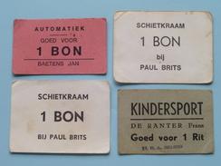 BAETENS Jan Automatiek / Paul BRITS Schietkraam (2x) / DE RANTER Frans Kindersport ( BONS ) Anno 19?? ( Zie Foto's ) ! - Tickets - Vouchers