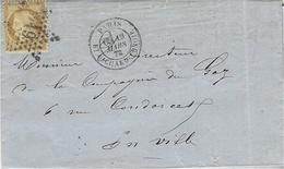 1872- Lettre  De PARIS / Bt RICHARD-LENOIR   Affr. N° 55 étoile  19 - Marcophilie (Lettres)
