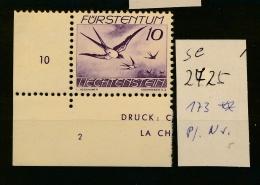 Liechtenstein Nr. 173 Platten Nummer  ** (se2725   ) Siehe Scan