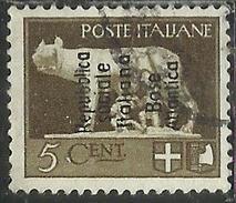 BASE ATLANTICA 1944  SOPRASTAMPATO D´ITALIA ITALY OVERPRINTED CENT. 5 5c USATO USED OBLITERE' - Emissioni Locali/autonome