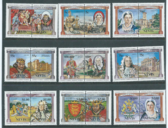 Nevis 1984 British Monarchs Set Of 9 Pairs MNH