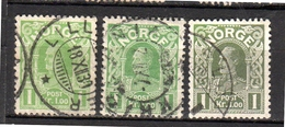 1910 1 Krona In Three Different Colors (n80)