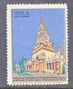 U.S.   PAN  PACIFIC  EXPO.  1915   POSTER  STAMP  *   TOWER OF  JEWELS - Universal Expositions