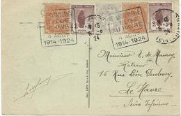 CARTE POSTALE 1924 AVEC 5 TIMBRES AUX TYPES BLANC/ORPHELINS ET CACHET DAGUIN RECONNAISSANCE BELGE AU HAVRE - Marcophilie (Lettres)