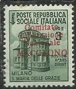 REPUBBLICA SOCIALE CLN MACCAGNO COMITATO DI LIBERAZIONE NAZIONALE 1945 LIRE 3 MNH TIMBRO DI GARANZIA - 4. 1944-45 Repubblica Sociale