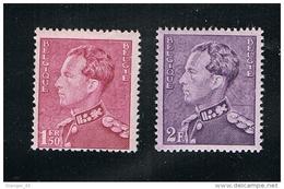 """Année 1936 - COB 429 Et 431** - SM Le Roi Leopold III  Type """"Poortman""""- Cote 4,75€"""