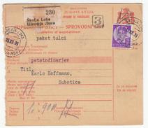Yugoslavia Parcel Card Sprovodni List 1939 Skofja Loka To Subotica B170525 - Covers & Documents