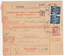 Yugoslavia Parcel Card Sprovodni List 1939 Vrhnika To Subotica B170525 - 1931-1941 Kingdom Of Yugoslavia