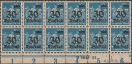 Allemagne 1923 Y&T 260 (Michel 284), Bloc De 12 Neufs Sans Charnières, Inscriptions Marginales