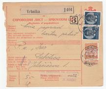 Yugoslavia Parcel Card Sprovodni List 1939 Vrhnika To Subotica B170525 - Covers & Documents