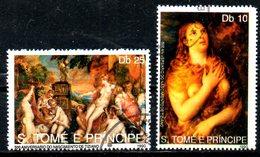 St THOMAS. 2 Timbres Oblitérés De 1990. Tableaux Du Titien.