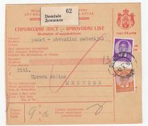 Yugoslavia Parcel Card Sprovodni List 1939 Domzale To Medvode B170525 - 1931-1941 Kingdom Of Yugoslavia