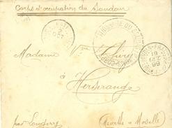 CORPS D'OCCUPATION DU SOUDAN CACHET SOUDAN DU 9 OCT. 1899 ET DIVERS AUTRES CACHETS AUSSI AU VERSO SIGN. DU VAGUEMESTRE - Soudan (1894-1902)