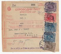 Yugoslavia Parcel Card Sprovodni List 1928 Ziri To Teslic B170525 - Covers & Documents