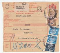 Yugoslavia Parcel Card Sprovodni List 1939 Maribor To Subotica B170525 - 1931-1941 Kingdom Of Yugoslavia