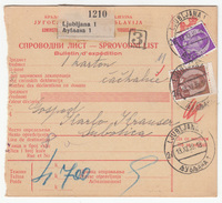 Yugoslavia Parcel Card Sprovodni List 1939 Ljubljana To Subotica B170525 - Covers & Documents