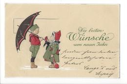 16868 - Die Besten Wünsche Zum Neuen Jahre Garçon Au Parapluie Et Fillette Au Bonnet Rouge Carte En Relief - Nouvel An